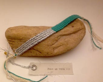 """Woven bracelet, silver and green duck collection """"wish"""""""