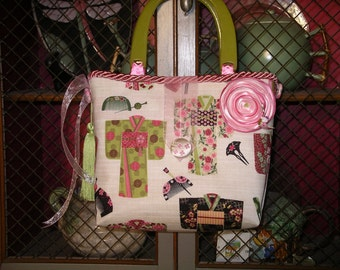 Pink and Green Kimonos Handbag