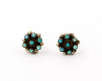 "Attractive Zuni Multi-Turquoise ""Snake Eye"" Earrings"