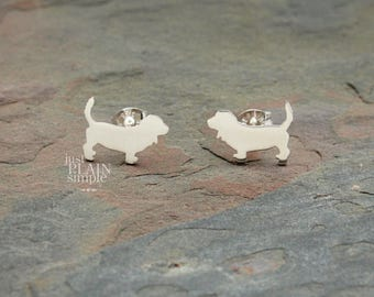 Basset Hound earrings, sterling silver, tiny silver hand cut dog earrings with heart