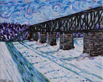 Cambridge Train Bridge 10 x 8, Original Acrylic Painting on canvas