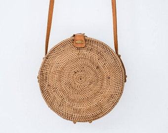 Round Rattan Crossbody Bag Personalized Leather Hand-bag Floral Pompom Customised Personalised Circle Travel Holiday Luxury Ata Brown Ribbon
