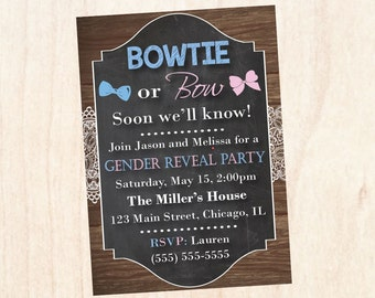 Bowtie or Bow Gender Reveal Party Invitation PRINTABLE baby shower invite digital boy or girl bowtie or bows