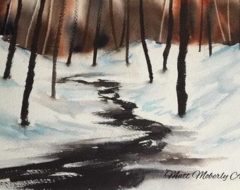 Original Watercolor Winter Stream Trees Snow