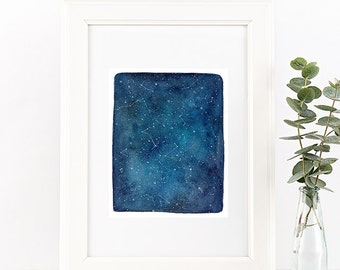 Watercolor Print. Blue Universe. Starry Sky Art Print. Stars and Constellations. Starry Night Art. Nursery Decor. Universe. CreativeIngrid.