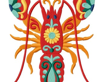 Flower Power Lobster Embroidered on Hand Towel or Tea Towel