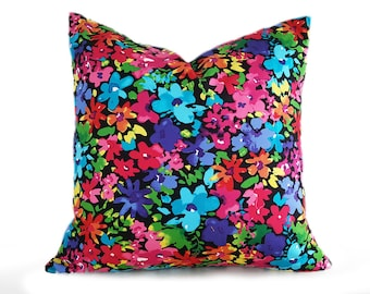 Colorful Pillows, Multicolored Pillow, Jewel Tone, Mod Throw Pillows, Cushion Covers, Pink Blue Purple Green, Bright Floral Pillows, 18x18