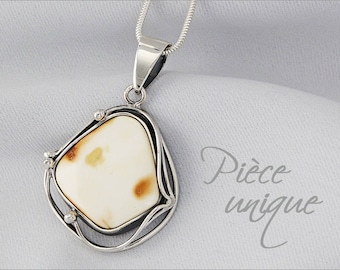 Genuine Silver 925/1000th Baltic Sea amber large necklace