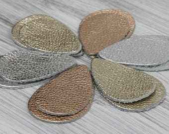 12pcs Metallic Leather Teardrops, Silver Leather Rose Gold  Grain Genuine Leather