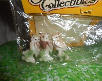 Three  Miniature Little Owls-Old Store Stock-