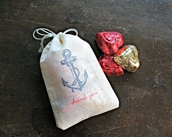 Nautical wedding favor bags, set of 50 cotton favor bags, vintage style anchor, Thank You, blue and red, hand stamped, cloth party favor bag