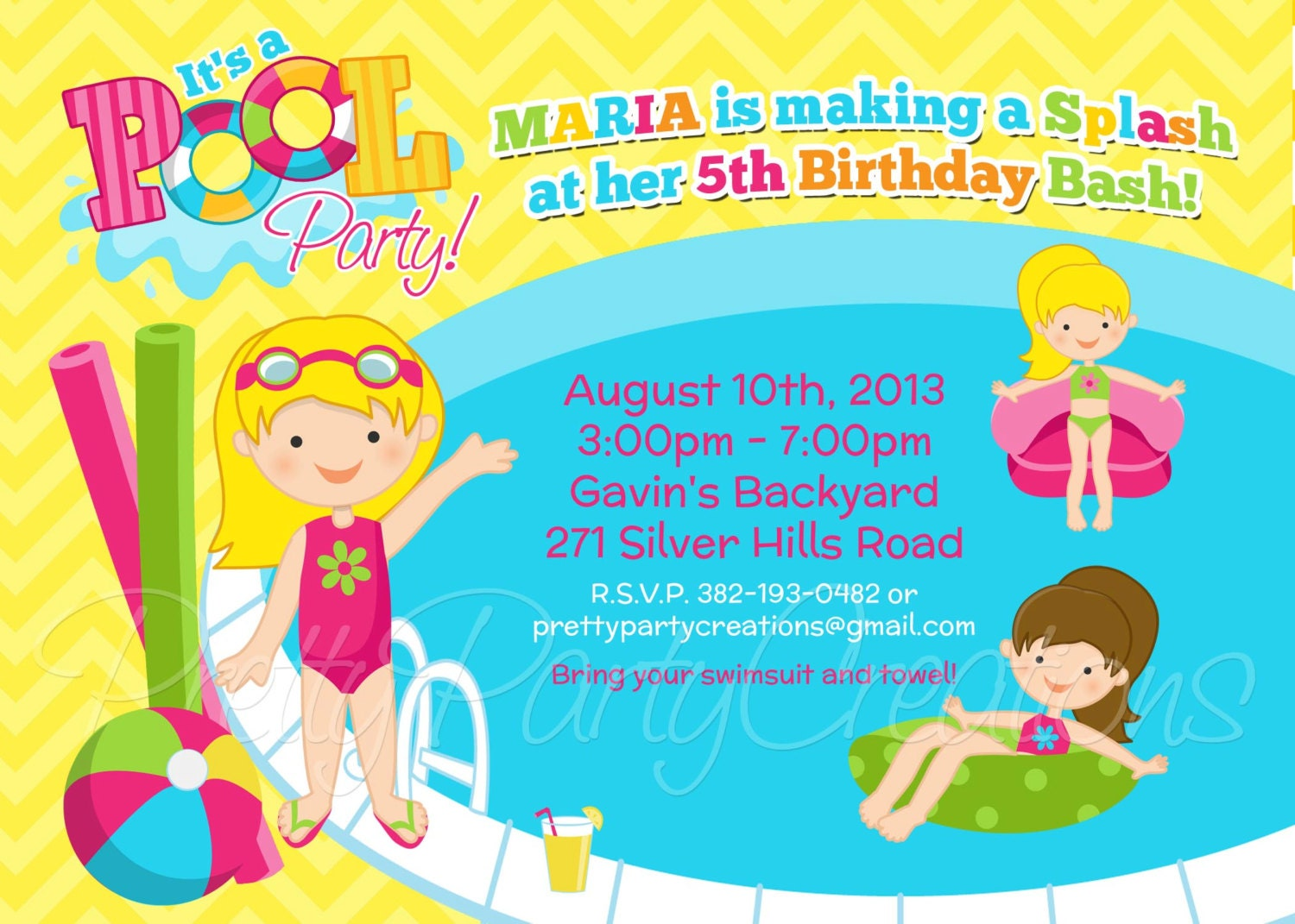 GIRL POOL PARTY invitation You Print