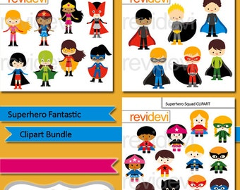 Superhero Fantastic clip art bundle, superheroes boys girls clipart, commercial use