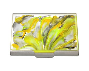 Yellow Large Business Card Case Hand Painted Glossy Enamel with Taupe and White Quartz Inspired with Personalized and Color Options