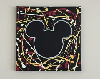 Mickey Mouse Silhouette Canvas Painting