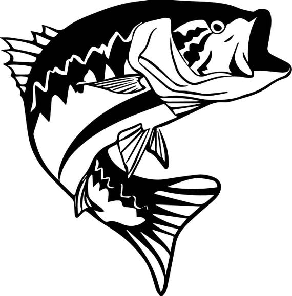 fish bass sport fishing freshwater seafood ocean hook rh etsy com Black and White Largemouth Bass Cartoon Fish Clip Art