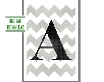 Instant Download Monogram Cross Stitch Pattern chevron Monogram Initial Alphabet A letter A Gift Home Decor House Warming Anniversary