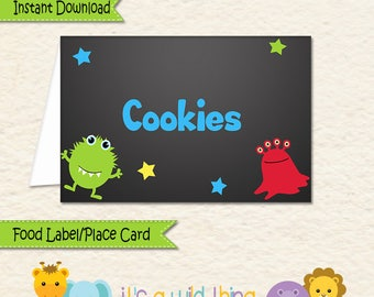 Monster Food Label • Monster Food Tent • Monster Party Decorations • Monster Theme Decorations • Allergy Card  • Monster • Place Card • 039a
