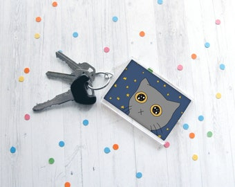 Cute Cat Keychain, Starry Eyed Kitty Keychain, Kitten Drawing, Cat Lover Gift, Funny Keychain, Any Occasion Gift