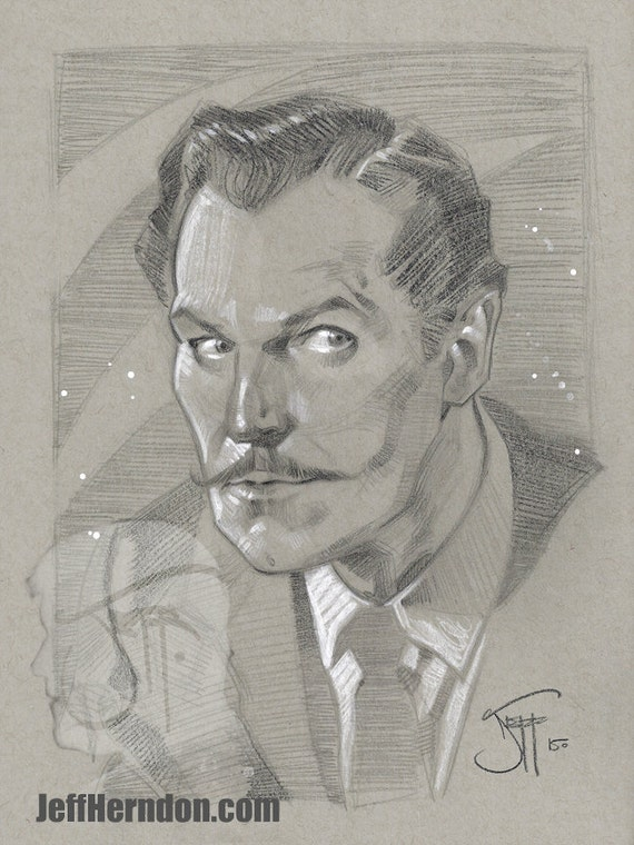 Items similar to Vincent Price, original pencil drawing on ...