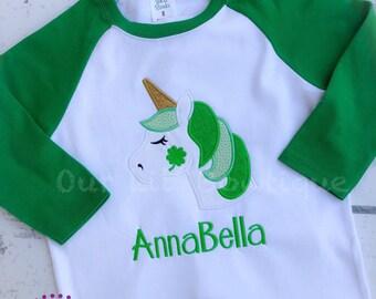 St. Patrick's Day Unicorn Shirt - Personalized Shamrock Shirt - Shamrock - Unicorn Face - Girls St. Patrick's Day Shirt-Personalized Unicorn