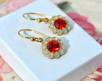 Crystal Rhinestone Earrings, Bridal Earrings, Flower Crystal Earrings, Wedding Jewelry, Crystal Swarovski Flower Earrings, Crystal Gifts UK