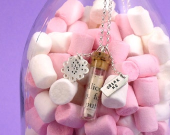 Eat Me Drink Me Glass Vial Necklace