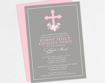 Pink Communion Invitations, Pink and Gray Communion Invitations, Customizable Communion Invitations, Printable Communion Invitations, PDF