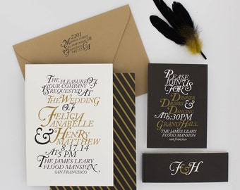 Wedding Invitations, Floral Wedding Invitation, Black and Gold, Roses, Modern, Urban Chic Wedding Invitation - Henry Sample