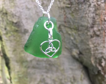 Genuine Irish Sea Glass Necklace with Solid Sterling Silver Trinity Heart Charm