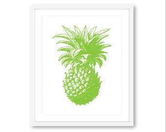Pineapple Art Print -  Pineapple Wall Art - Green Decor - Tropical Pineapple Print - Custom Color - 8x10 8.5x11 Aldari Art
