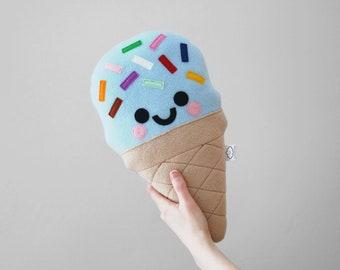 Blue Bubblegum Ice Cream Plushie, Rainbow Sprinkles, Nursery Decor, Cute Sofa Accessory