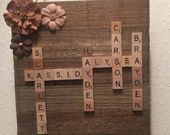 Family frame, scrabble wall art, personalized frame, scrabble frame, scrabble tiles