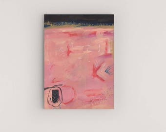 Original Acrylic Abstract Painting, Contemporary Painting, Abstract Wall Art Painting, Pink Black Painting, Contemporary Abstract Painting