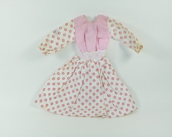 TLC Vintage Clone Doll Dress - Pink White Polka Dots - Ink Stain On Sleeve Loose Threads On Hems - Possibly Homemade