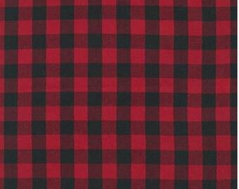 Buffalo Plaid Red and Black Fabric - House of Wales Plaid -  Cotton Fabric  -  Robert Kaufman Fabrics
