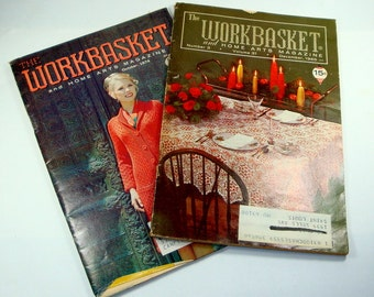 Vintage Workbasket  And Home Arts Magazines, Christmas Star Tablecloth, Christmas Crafts, Needlework, Cake Decorating, Knit Set of 2  (6603)