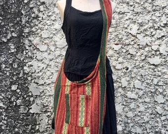 Boho Tribal Crossbody Sling bag Woven Hippie Aztec Nepali festival Bag Tote Hmong bag Vegan Travel gift Ikat Ethnic style for Men Women