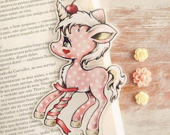 Cherry Candy Unicorn - bookmark - made to order