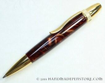 MAPLE SYRUP Acrylic with Titanium Gold handmade pen in Polaris / Atlas Style