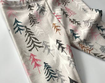 SALE!! Modern winter wonderland with pink tree leggings, 100% organic cotton knit,  new sizes available for 0-24 months!