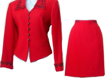 Red - Wool Suit - Jacket - Skirt - Petite - Sz 6 - Black Beading - KASPER ASL - Crepe - Tailored - Holiday  - Wedding - Retro Style -