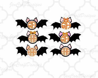Halloween Bats Monogram Frames SVG Cut Files Digital Clipart and Cut File Png SVG EPS Dxf Instant Download Cricut Explore Silhouette Cameo