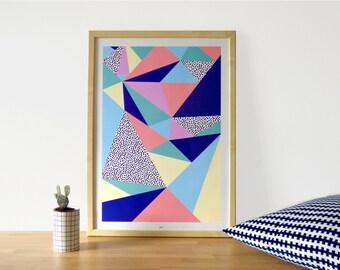 """Affiche scandinave avec motifs géométriques, affiche décoration pour la maison, geometric print, affiche hygge, idée cadeau, """"Babel"""" A2"""