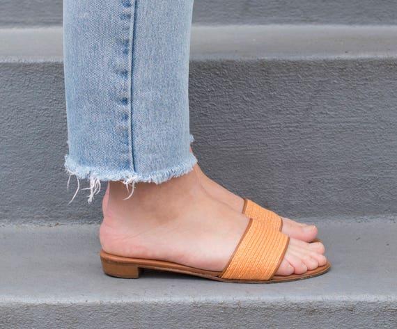 woven orange 1980s leather slides sandals raffia 37 7 vintage talbots 80s sandals tan flat orange slide sandal TdqpZwP