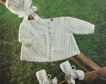PDF, Instant Download, Baby Knitting Pattern, DK Wool, Vintage, Matinee Coat, Bonnet and Bootees 18/20 inch