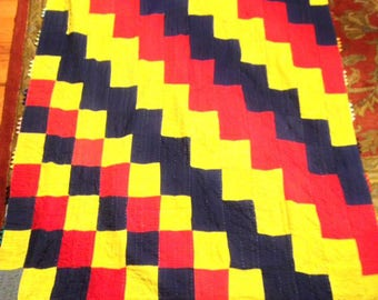Traditional Ralli Quilt: Red Yellow and Blue