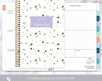 2018 planner | 2018-2019 calendar | weekly student planner add monthly tabs | personalized planner agenda daytimer | lavender gold confetti