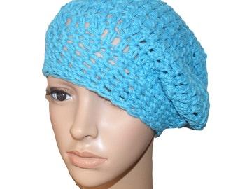 Cotton Crochet Hat, Womens Beret, Blue Tam, Spring Fashion Hat, Summer Hat, Crochet Beret, Spring Beanie, Cotton Slouch Hat, Womens Cap