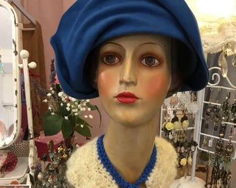 "1925 Royal Blue moleskin ""Mark"" brand quality rabbit felt cloche Hat"